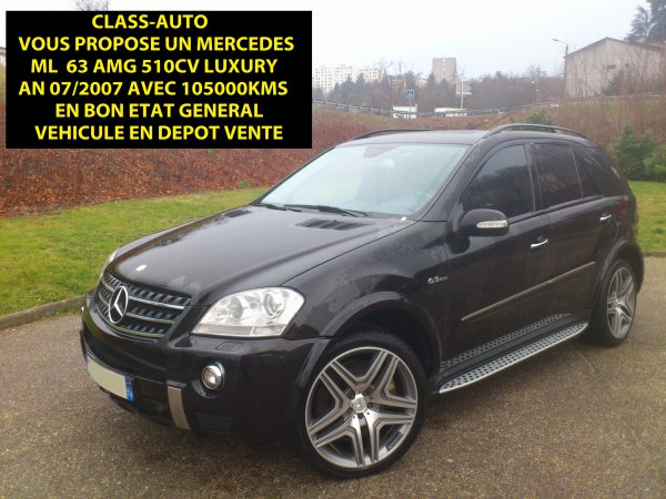 mercedes ml 63 amg an 07 2007 105000kms 7 g tronic vendu 11 03 2013 class auto 69. Black Bedroom Furniture Sets. Home Design Ideas