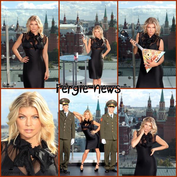 Fergie � la conf�rence du lancement de son parfum Outspoken Intense en Russie