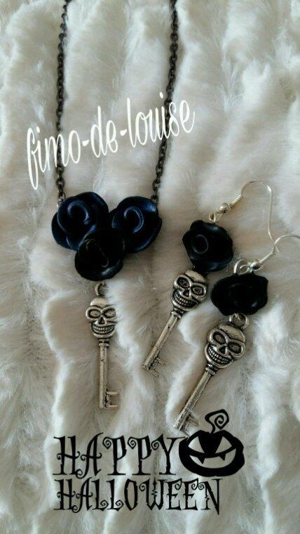 Parure rose noir bleuté ☻☻☻☻