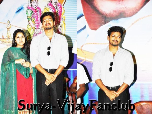 Vijay + Wife Sangeetha  At Vellore Marriage