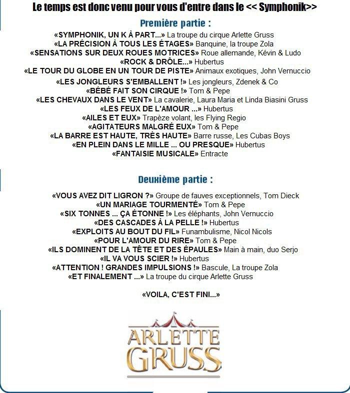 """Arlette Gruss > Le programme du spectacle 2013 """"SYMPHONIK"""""""