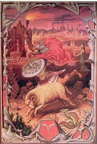Bélier (Aries), du 21 mars au 20 avril « C'est l'incandescence, le dynamisme jusqu'à l'autoritarisme. L'amour jusqu'à la passion, la conquête jusqu'à la domination. »