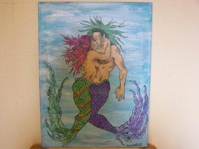 Peinture 9 deux etres amoureux en mer artstattooraph for Peinture sur toile pour salle de bain