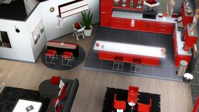 Paradise rdc salon salle manger cuisine wc les for Salle a manger sims 4