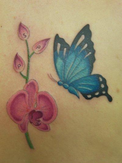 tattoo orchid e avec papillon enigmatyc. Black Bedroom Furniture Sets. Home Design Ideas