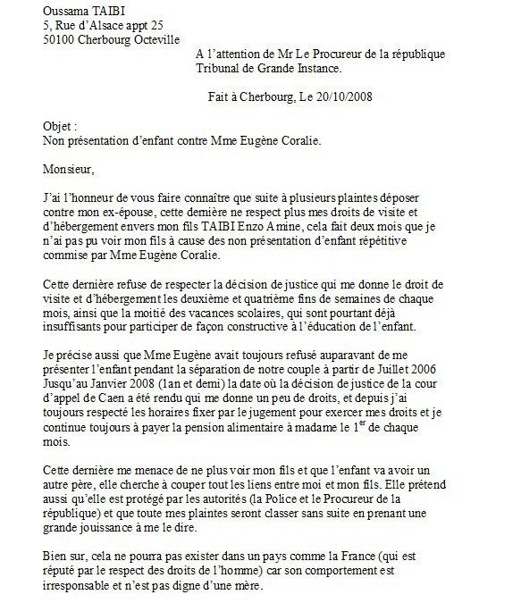 lettre recommand e avec ar adress e au procureur 20 octobre 2008 objet du scandale. Black Bedroom Furniture Sets. Home Design Ideas