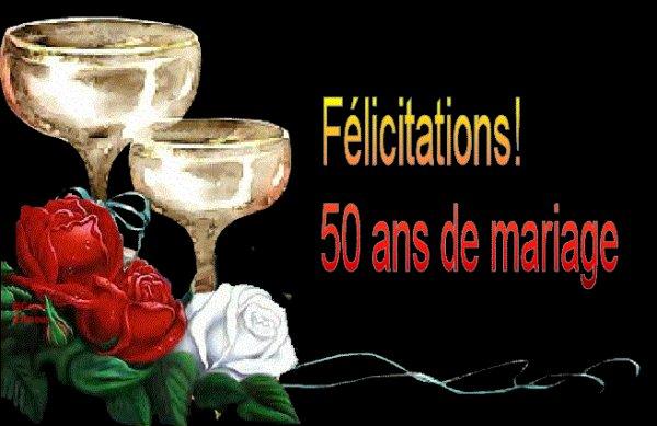 """FELICITATION POUR VOS 50ANS DE MARIAGE """"GASTON"""" ET """"MONIQUE""""?? GROS BISOUS DE MOI ET MA FAMILLE♥♥♥♥"""