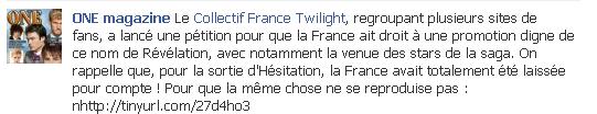 La revue One Magazine apporte son soutien au Collectif France Twilight