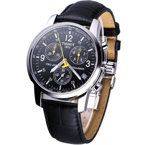 montre homme tissot prc 200 t17152652 mouvement quartz bracelet en cuir en promo chez. Black Bedroom Furniture Sets. Home Design Ideas