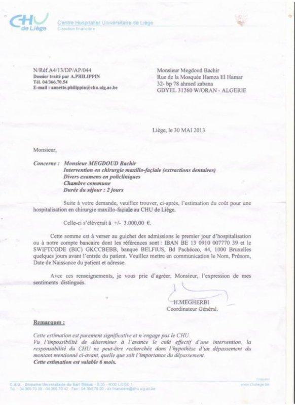 A BESOIN DE VOTRE AIDE POUR VENIR SE SOIGNER EN Belgique / C.H.U DE LIEGE