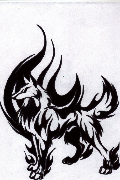 Dessin de loup tribal - Dessin tribal facile ...