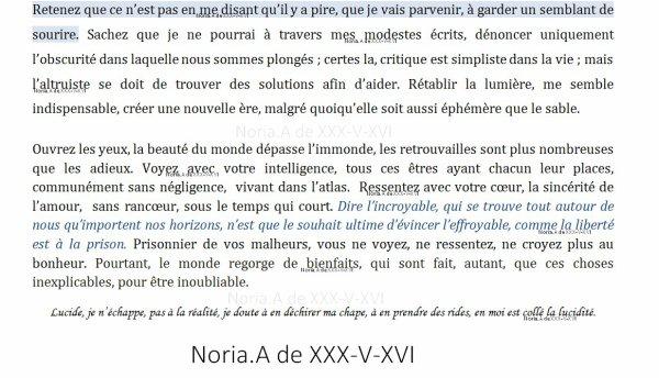 [ Extrait de texte ] Un peu de lucidit�, pour red�couvrir une r�alit�. - Noria.A de XXX-V-XVI