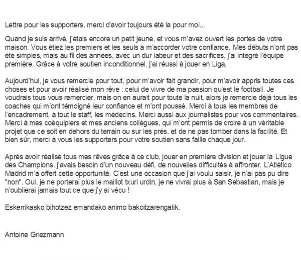 Griezmann officialise � l'Atl�tico !