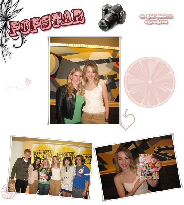 .        « Bridgit & ses co-stars de Lemonade Mouth dans les  locaux du magazine Pop Star récemment.  »                .