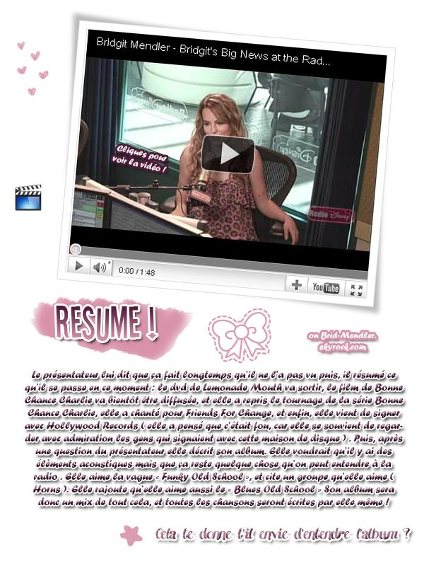 .        « Bridgit à Radio Disney ce  24 Mai ! ( article associé )  »                 .