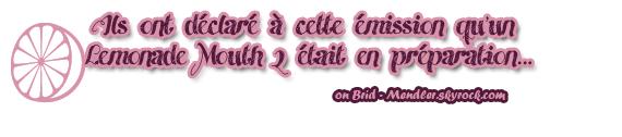 .        « Bridgit à  The View avec ses  co-stars de Lemonade Mouth ce 10 Juin,  où ils ont annoncé une grosse info !   »                 .