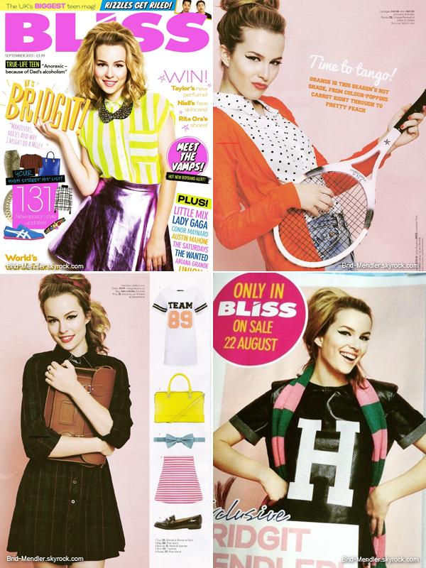 Bridgit fait la couverture du magazine Bliss de Septembre 2013