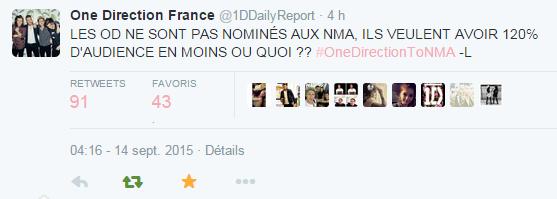Les boys pas nomin�s pour les NRJ Music Awards 2015