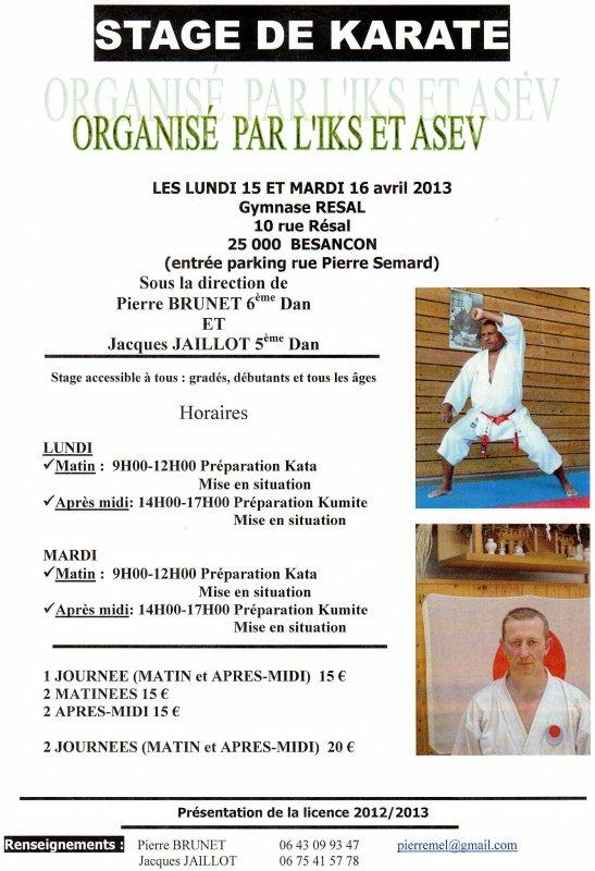 STAGE DE PAQUES:  LUNDI 15 ET MARDI 16 AVRIL 2013 AU GYMNASE RESAL
