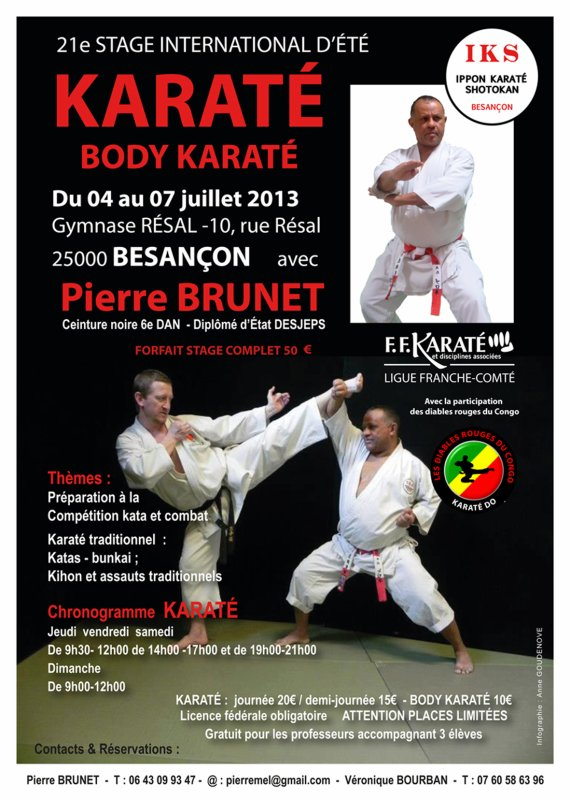KARATE STAGE D'ETE: CHRONOGRAMME