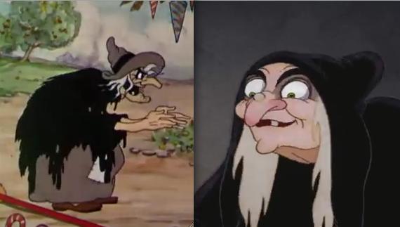 Comparaison physique avec la sorcière de Blanche-Neige