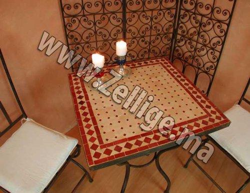 Table en zellige carr e avec pieds en fer forg pas cher - Table en mosaique pas cher ...