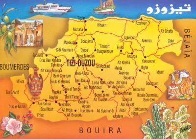 Carte de tizi ouzou amine for Haute kabylie