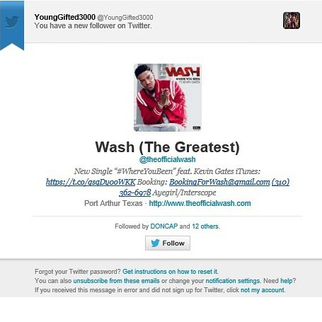 """Wash """"The Greatest"""" Young Gifted thanx U 4 the support!!"""