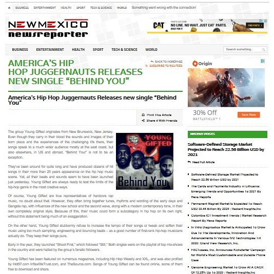 """New Mexico News Reporter Check out Young Gifted new single """"Behind You"""" Click link to see full article!! http://www.newmexiconewsreporter.com/story/110975/americaship-hopjuggernauts-releases-new-single-behind-you.html"""