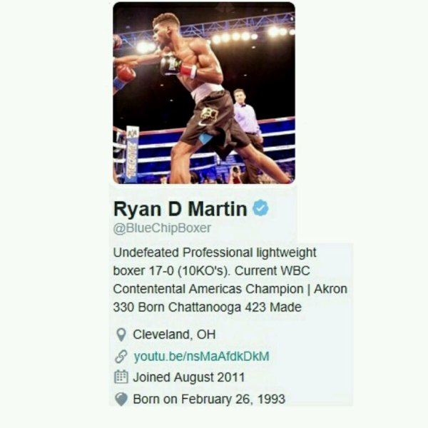Big Up's.. Ryan D. Martin Undefeated WBC Light Weight Boxing Champion..17-0 (10 KO's) Thx 4 Supporting...Ryan  #YoungGifted  Keep Killing Them In The Ring!!