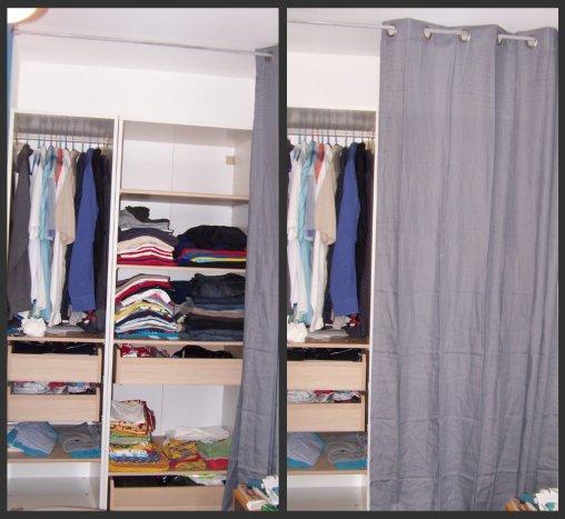 Placard de notre chambre notre maison vue Placard avec rideau