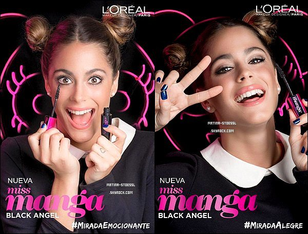 """. Mai 2015 : D�couvrez trois photos promotionnelles de Tini pour le nouveau mascara """"Miss Manga Black Angel"""" de L'Or�al. De retour avec la marque L'Or�al Paris Arg., Tini nous d�voile un nouveau shoot que j'adore! D�couvre aussi la vid�o promo un peu sp�ciale du shoot. ."""