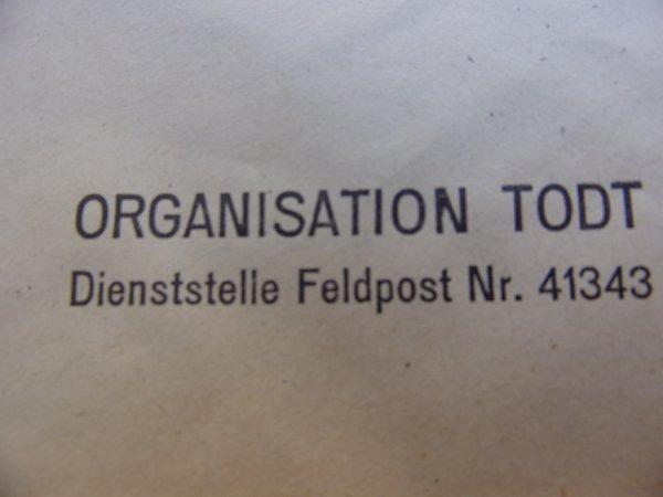 Enveloppe Org. TODT WW2.