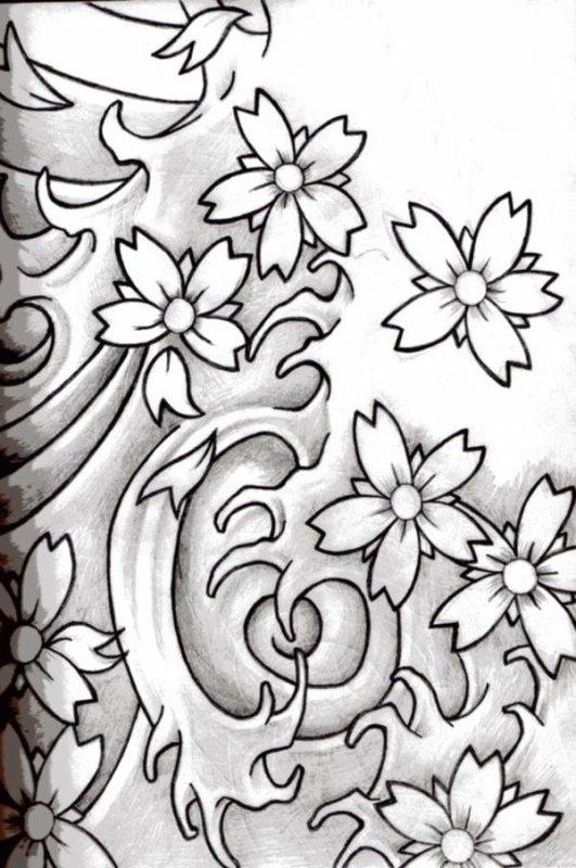 fleurs de cerisier tatouage. Black Bedroom Furniture Sets. Home Design Ideas