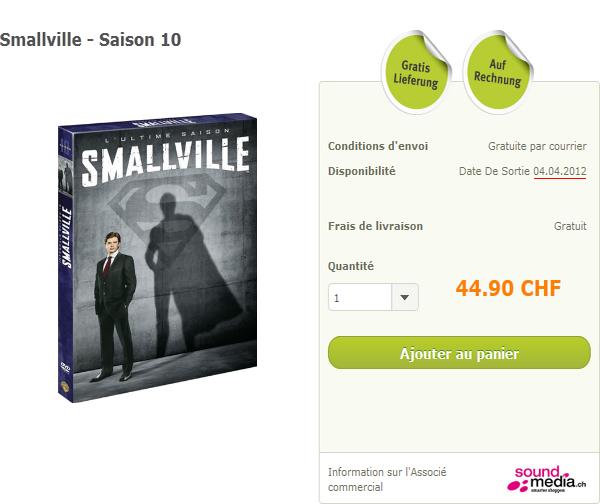 Sortie du 10�me coffret de Smallville en Suisse
