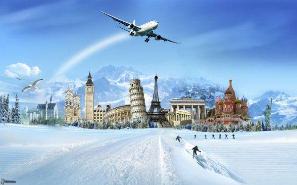 collage,-avion,-chateau-de-neuschwanstein,-big-ben,-colisee,-tour-de-pise,-tour-eiffel,-porte-de-brandebourg,-cathedrale-saint-basile,-statue-de-la-liberte,-montagnes,-neige