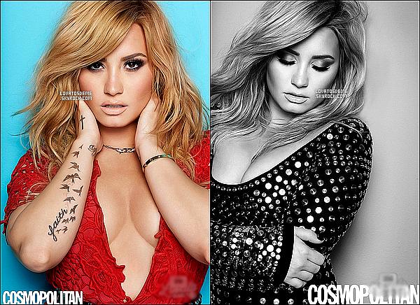 - Demi Lovato faisant la couverture du c�l�bre magazine am�ricain Cosmopolitan  du mois d'ao�t  .  + Demi s'est redue a une radio New Yorkaise, ou elle a r�pondue a quelques question et a ensuite fait un Meet and Greets.