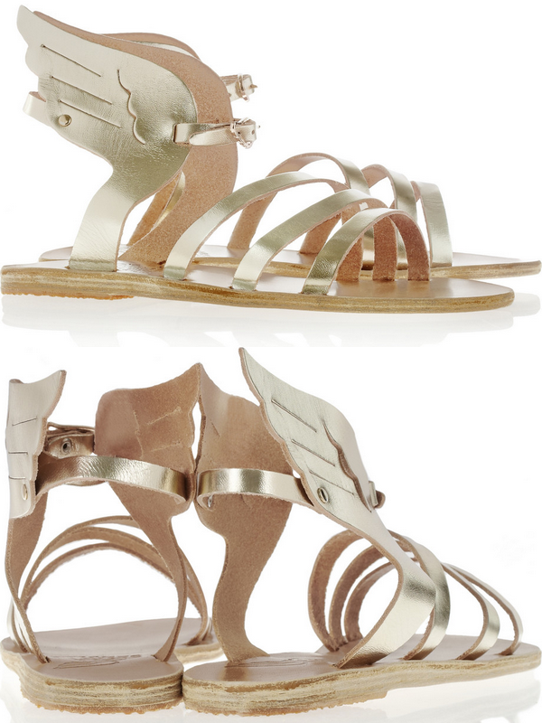 -  Ancient Greek Sandals Ikaria metallic leather wing sandals $245 -