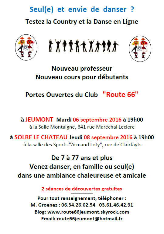 "2 Portes ouvertes le 06 et 08 septembre 2016 au Country Club & Line Dance ""Route 66"""