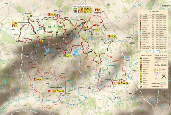 Carte des circuits vtt ffc des monts de blond en haute for 87 haute vienne carte