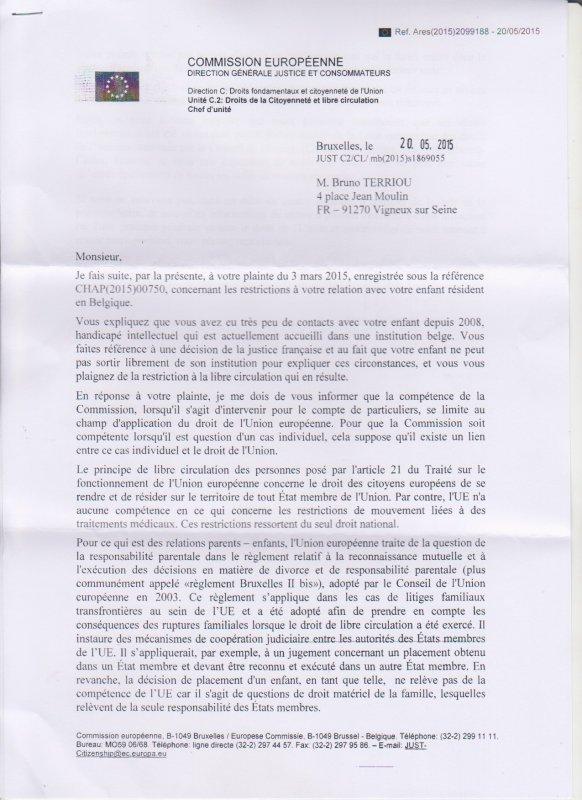 Compl�ment de ma plainte devant la commission europ�enne