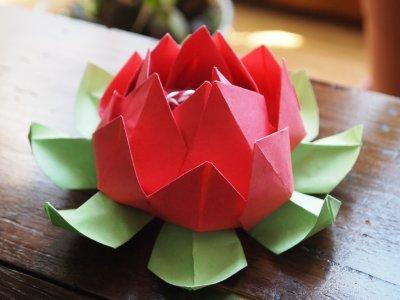 Origami fleur de lotus mosa ques en papier praline - Origami fleur de lotus ...