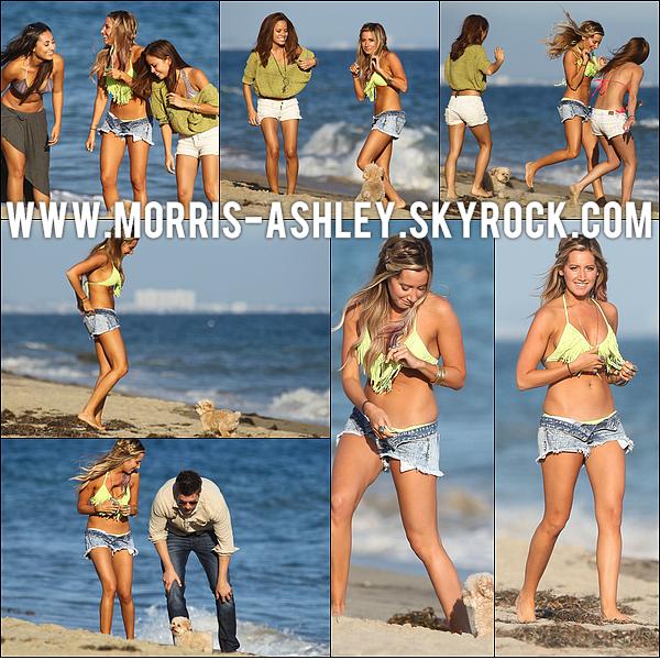 02/07/2012�- Ashley f�tait son anniversaire sur la plage de Malibu en compagnie de son boyfriend, Scott et de ses amis.