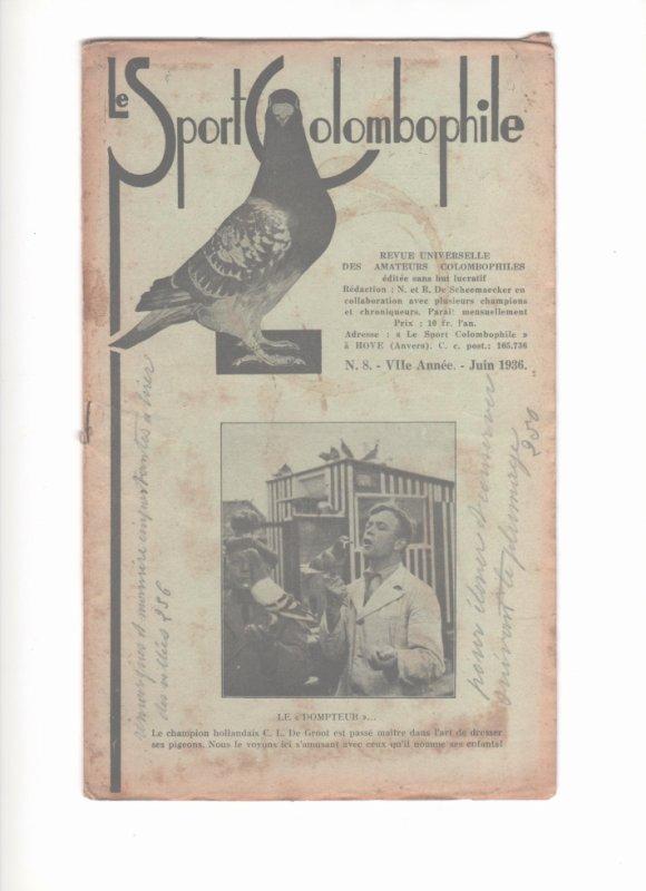 De  duivensport / le sport colombophile �dition de JUIN 1936