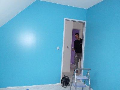Peinture de notre chambre bleue et blanc blog de for Peinture chambre bleu