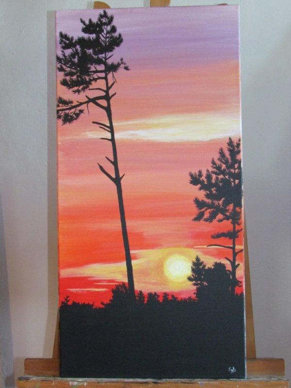 Grand pin dans le couchant peinture tout support - Peinture tout support ...