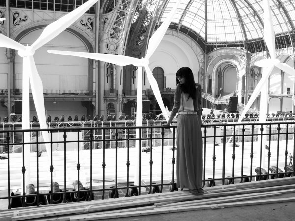 Irina Lazareanu in front of the Chanel runway at the Grand Palais, Paris. Photo Gavin Doyle.