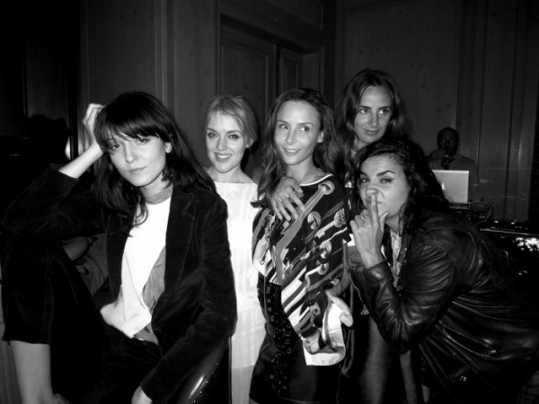 Irina Lazareanu, Jen Carey, Laetitia Crahay, Alexandra Niedzielski and Sara Nataf at the Garage party at Le Bristol.