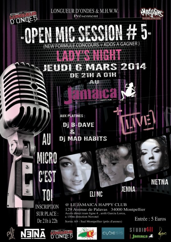 ★▓★ELI MC +NETNA+JENNA★▓★OPEN MIC SESSION #5 LADY'S NIGHT★▓★MICRO OUVERT★▓★SHOWCASE★▓★CONCOURS+KDOS★▓★06/03/2014