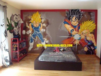 graffiti decoration murale chambre mangas dessin anim. Black Bedroom Furniture Sets. Home Design Ideas
